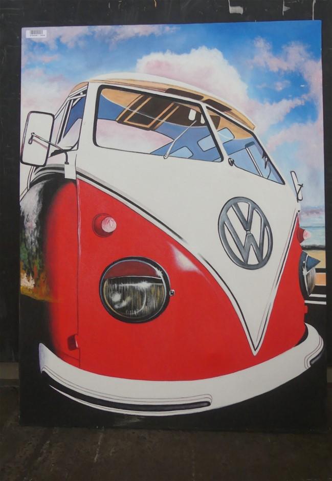 Vw Vw Van Red Painting On Canvas, 120 X 90Cm (VW)