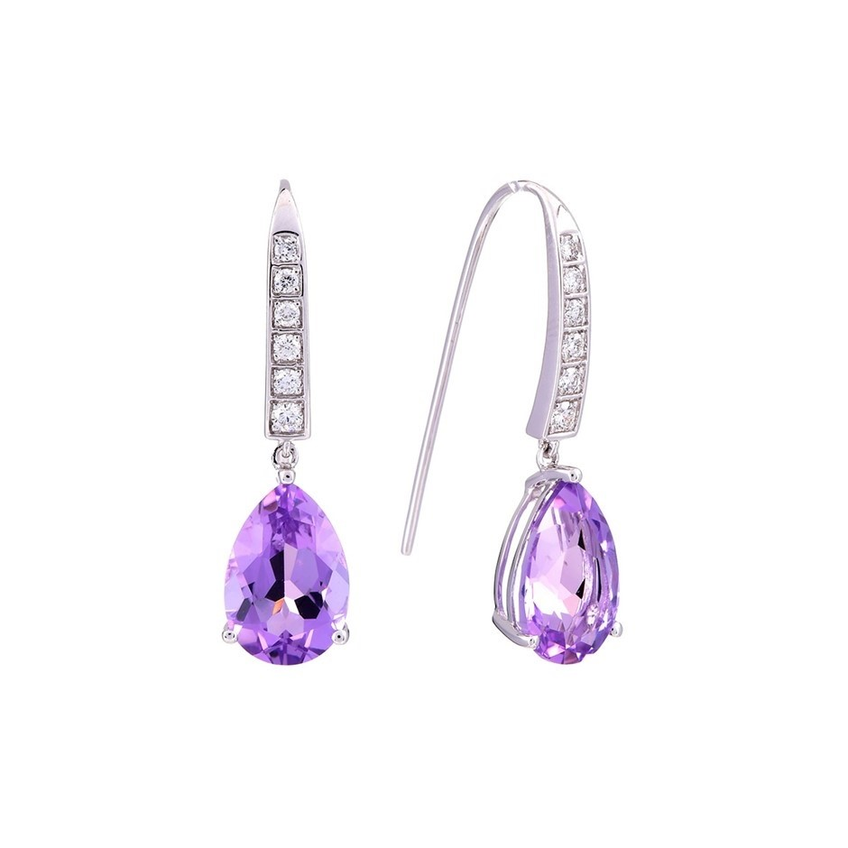 ERV $1125 - Ladies 9ct W/G Earring purple Amethyst & diamonds TDW=0.26ct