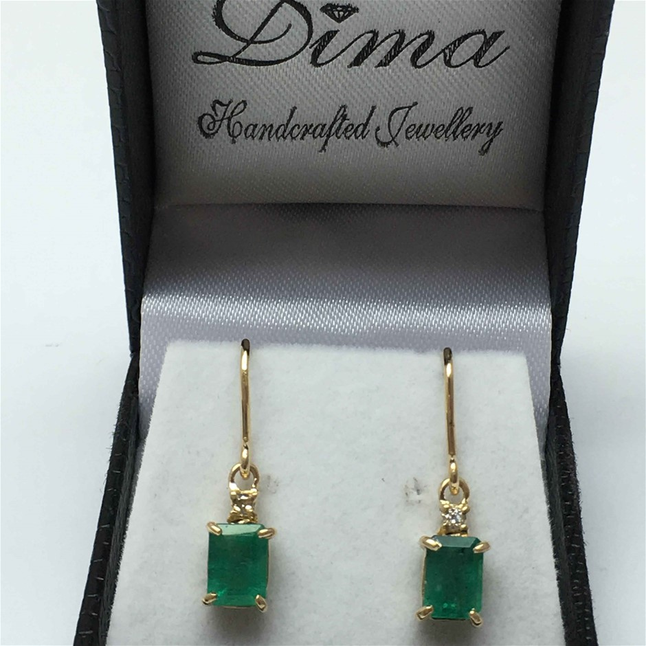 18ct Yellow Gold, 2.37ct Emerald and Diamond Earring