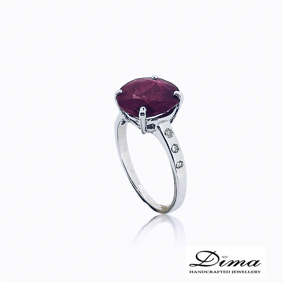 18ct White Gold, 3.64ct Ruby and Diamond Ring