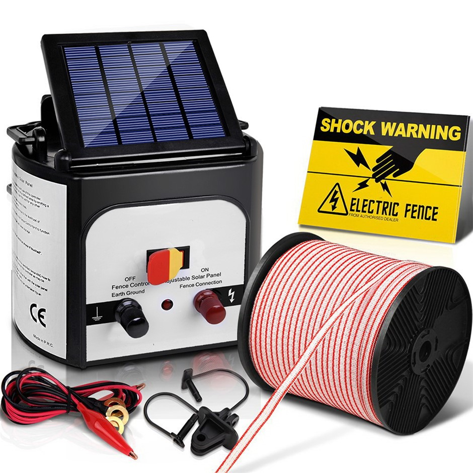Giantz 8km Solar Electric Fence Energiser 0.3J Charger Poly Wire 400M