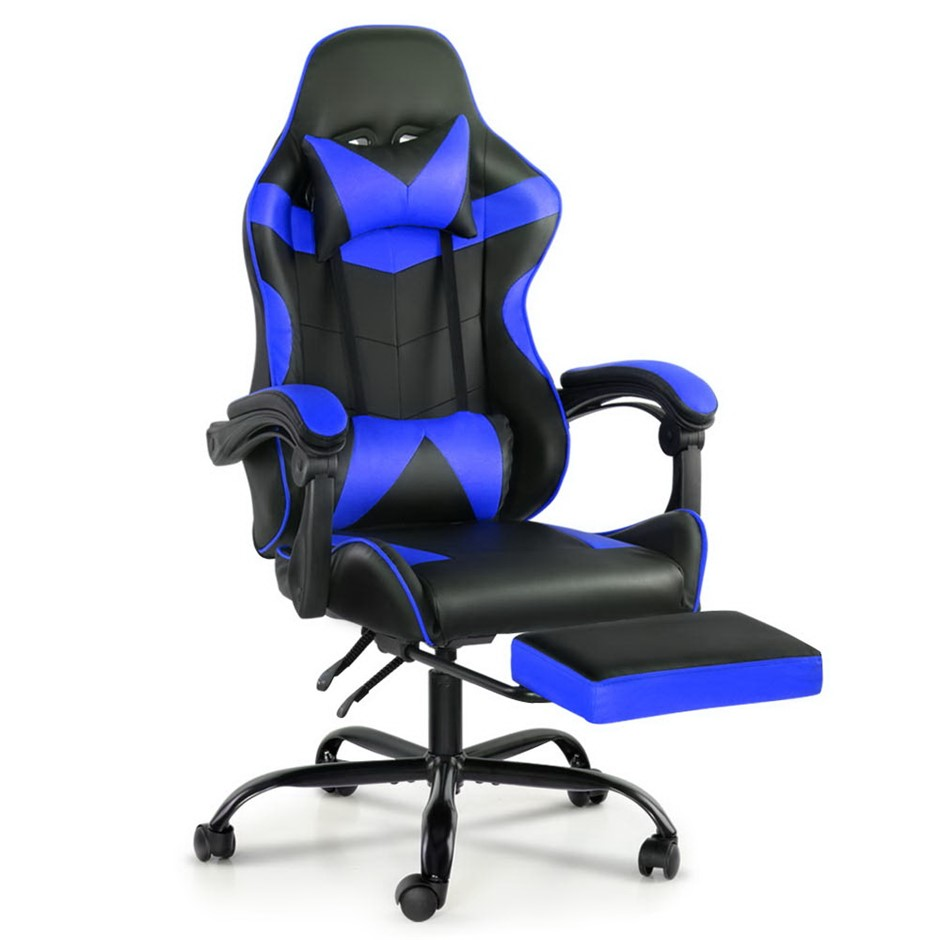 Artiss Gaming Office Chairs Racing Recliner Racer Footrest Blue