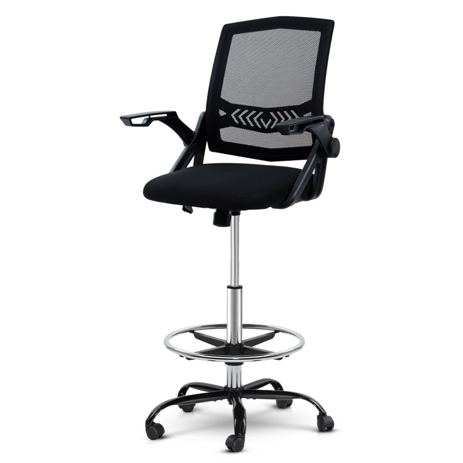 Artiss Office Chair Veer Drafting Stool Mesh Chairs Flip Up Armrest Black