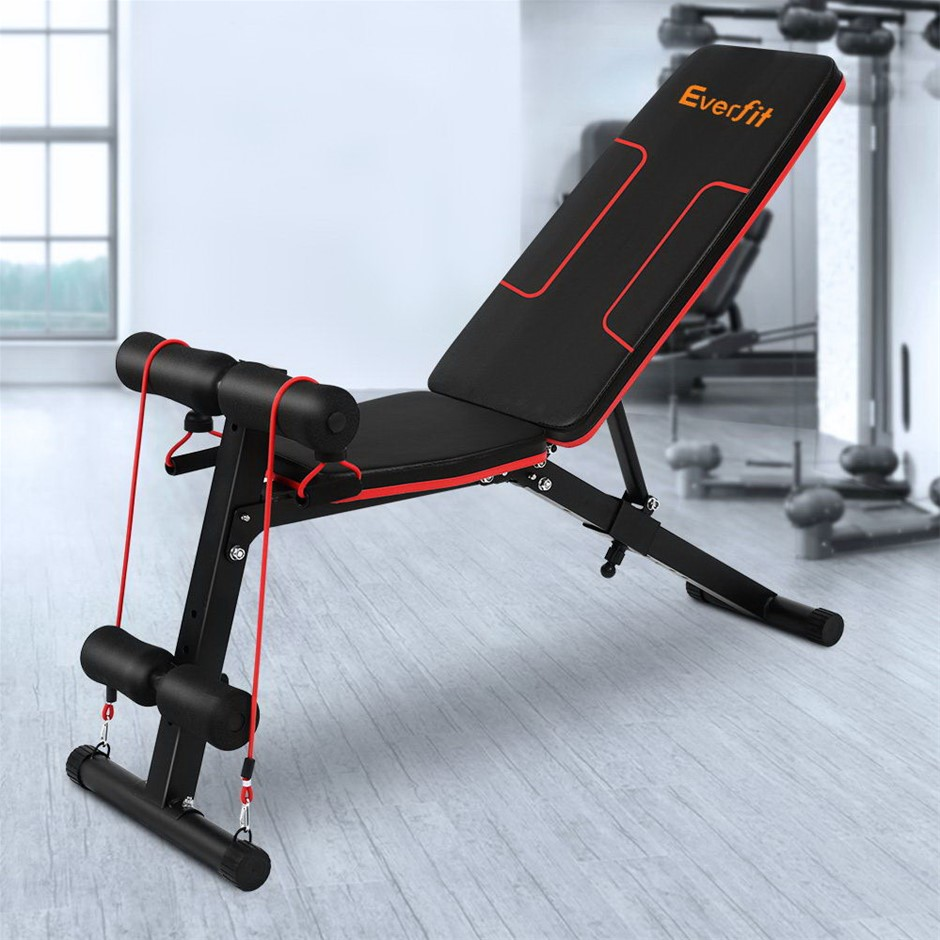Everfit Adjustable FID Weight Bench Fitness Flat Incline Gym Steel Frame