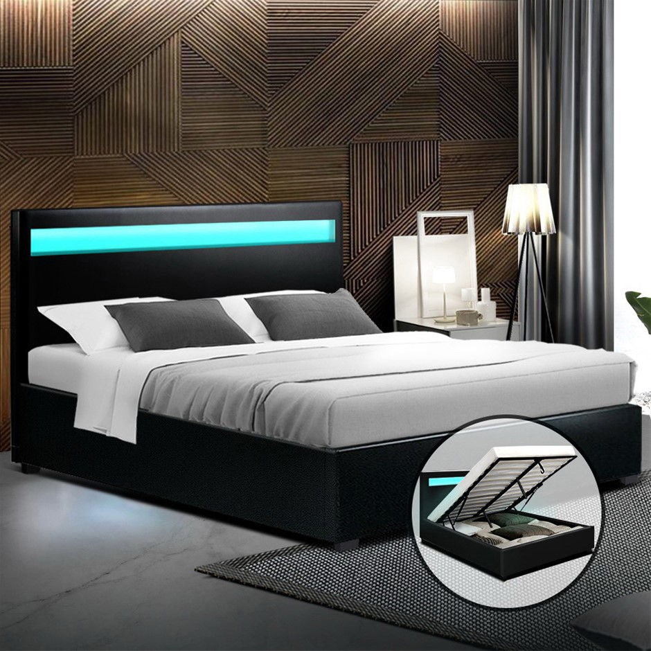 Artiss LED Bed Frame Queen Size Gas Lift Base With Storage Black Leather