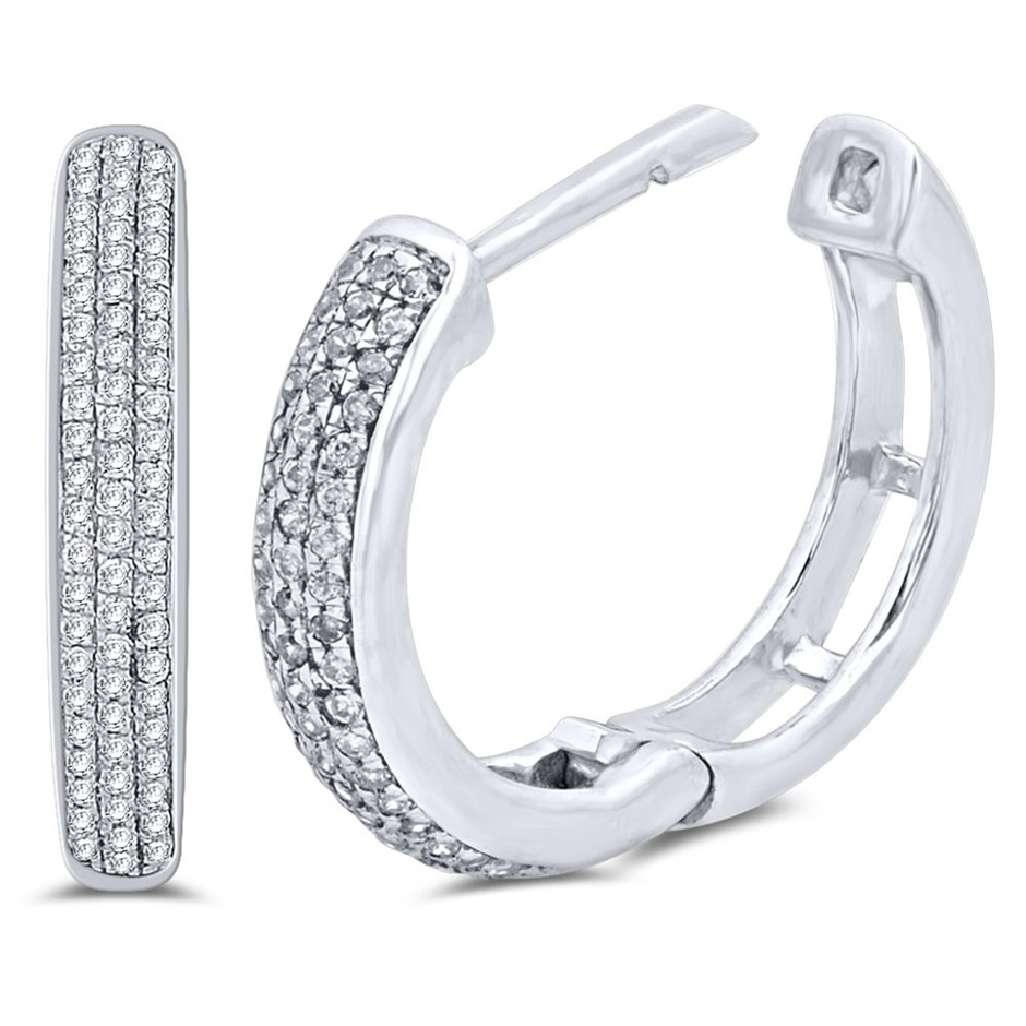 9ct White gold, 0.15ct Diamond Earring