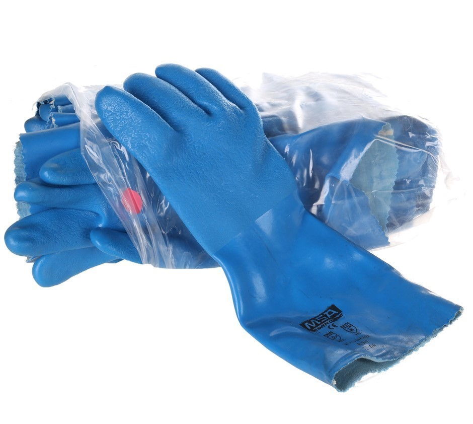 10 x MSA SOLVGARD PVC Palm Coated Grip Gloves, Size L, Flocked Lined, Blue.
