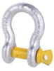 6 x Bow Shackles, WLL 1T, Screw Pin Type, Grade S, Yellow Pin. Buyers Note