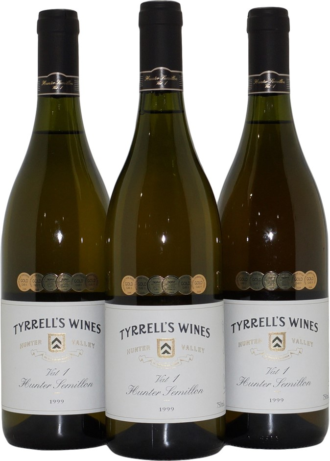 Tyrrell's Wines Vat 1 Hunter Valley Semillon 1999 (3x 750mL), NSW. Cork.