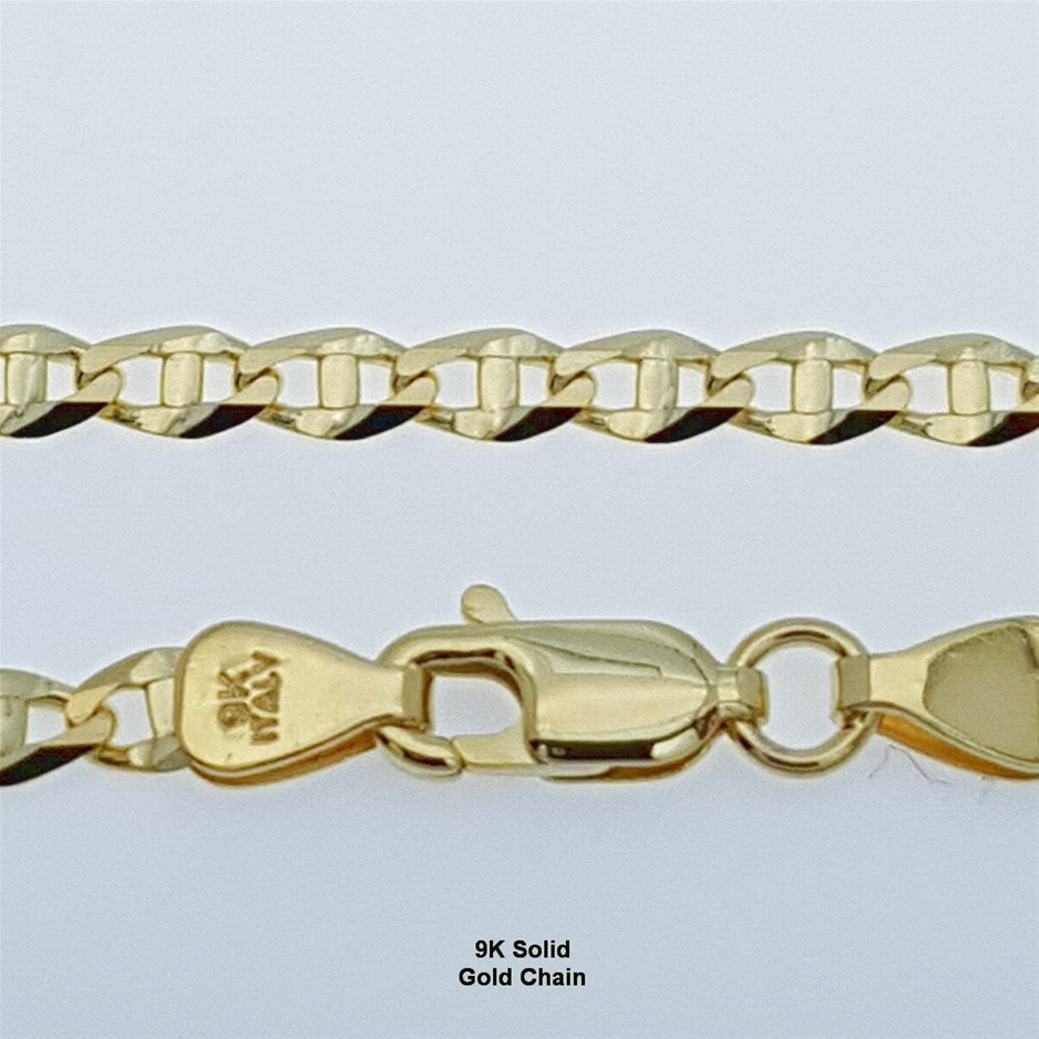 Genuine Italian Solid 9 Karat Yellow Gold 45 cm chain necklace