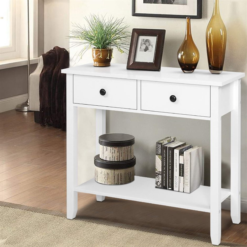 Hallway Console Table Hall Side Entry 2 Drawers Display White Desk