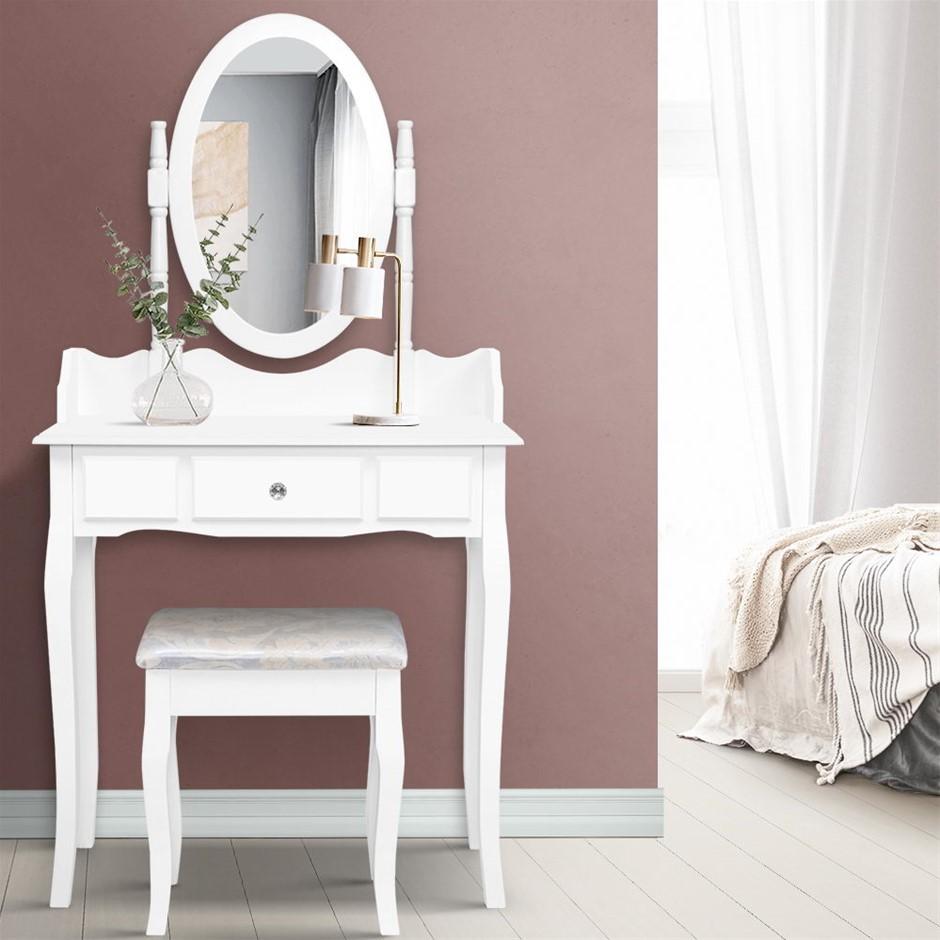 Dressing Table Stool Mirror Jewellery Cabinet Drawer White Box Organizer