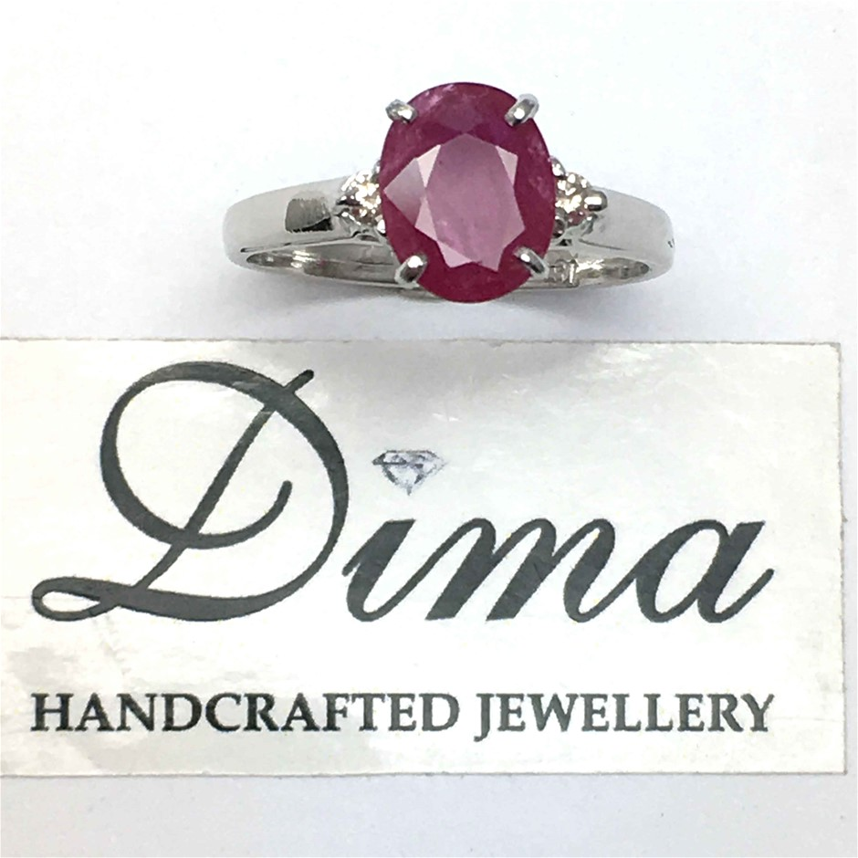 18ct White Gold, 2.16ct Ruby and Diamond Ring