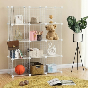 12 Cube Wire Grid Organiser Bookcase Sto