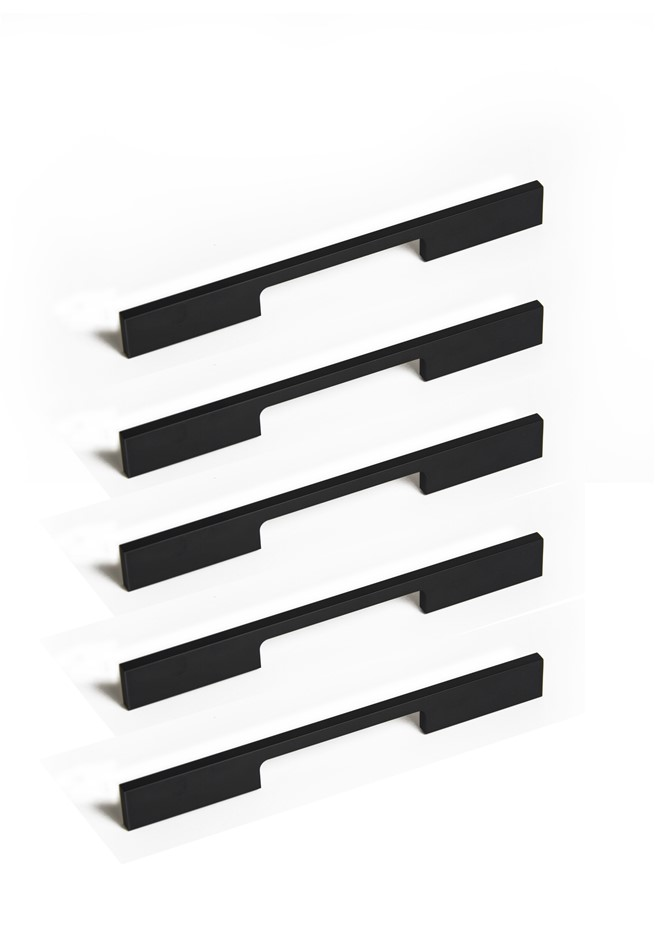 5 x 160mm Kitchen Handle Cabinet Cupboard Door Drawer Handles square Black