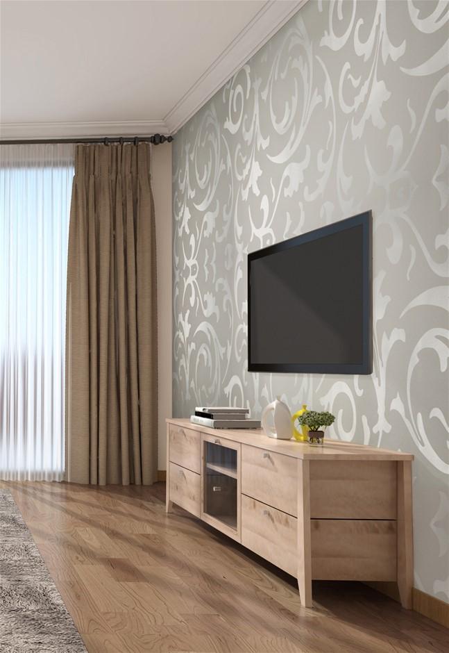 Wallpaper Silver Flower Pattern Non-woven Wall Paper Roll