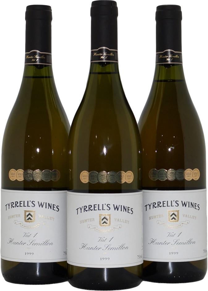Tyrrell`s Wines Vat 1 Semillon 1999 (3x 750mL), NSW. Cork.