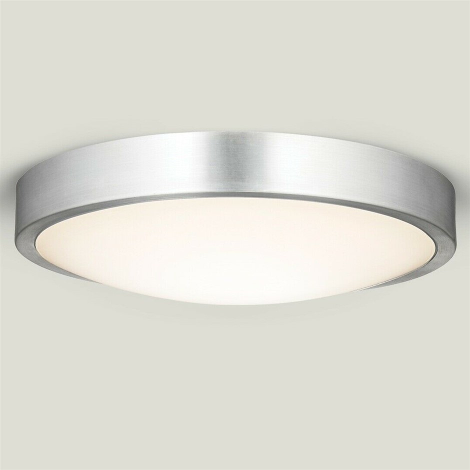 HPM Aura 18W LED Dimmable Ceiling Oyster Light, 3000K, Silver finish