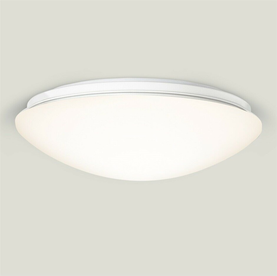 Qty 2 x HPM Atis 17W LED Dimmable Ceiling Oyster Light, 3000K, White Finish