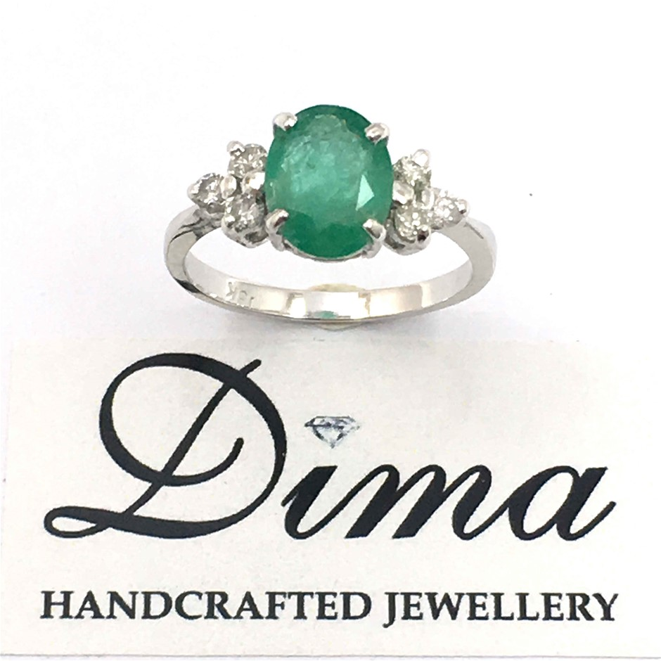 18ct White Gold, 2.07ct Emerald and Diamond Ring