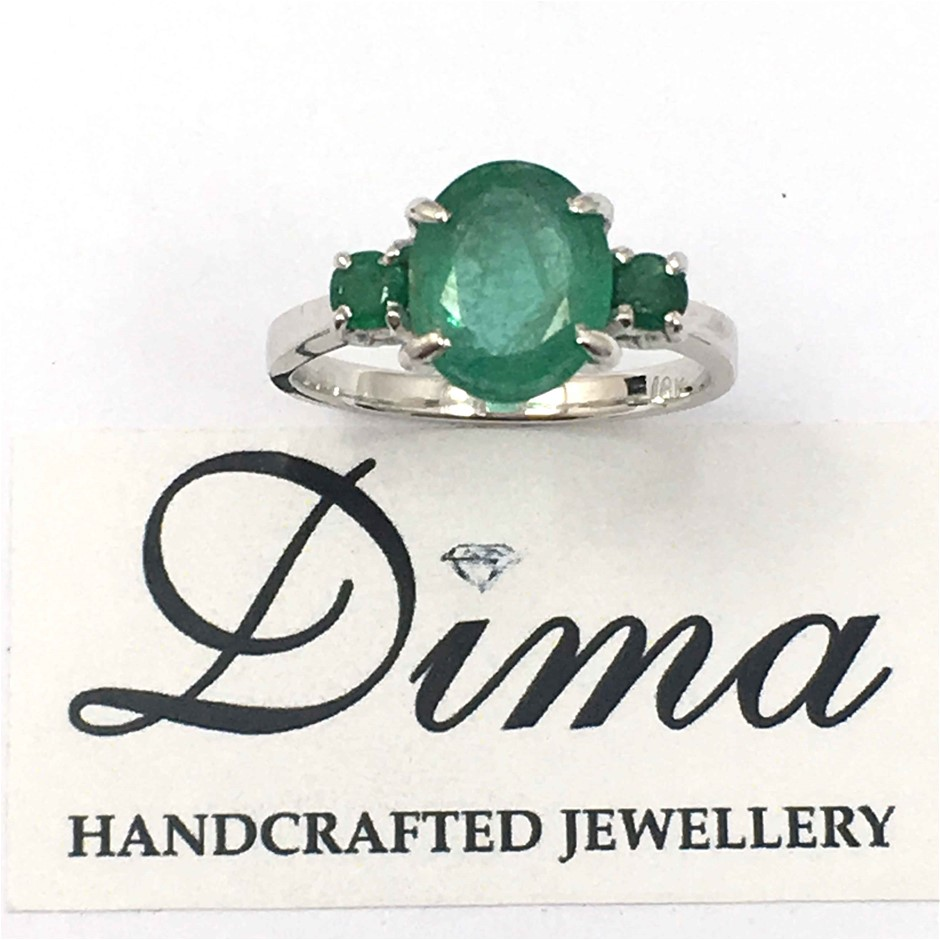 18ct White Gold, 2.16ct Emerald Ring
