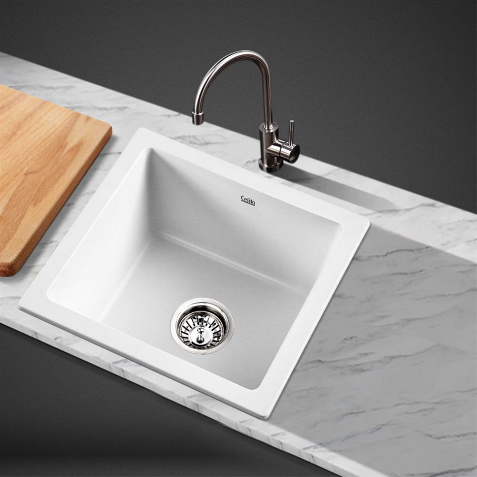 Cefito Kitchen Sink Granite Stone Laundry Top/Undermount Double 450x450mm