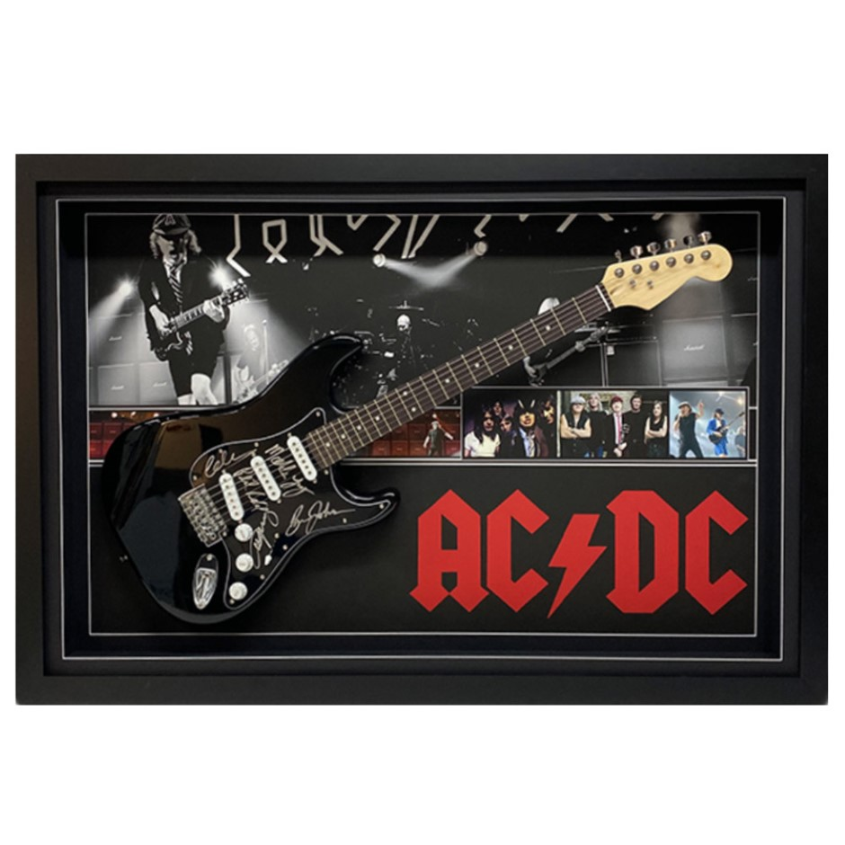 Acdc Hand Signed & Framed Full Size Electric Guitar
