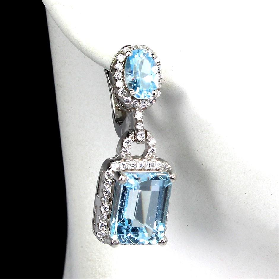 Beautiful Genuine Sky Blue Topaz Drop Earrings