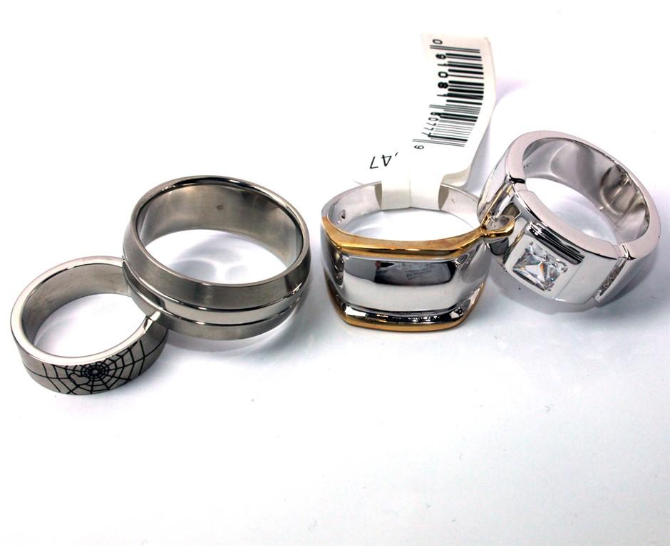 Set of 4 mens fashion rings
