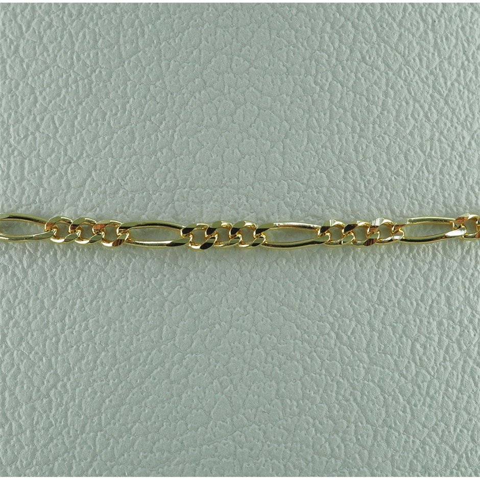 9k yellow gold 45cm curb link figaro 3 + 1 chain necklace