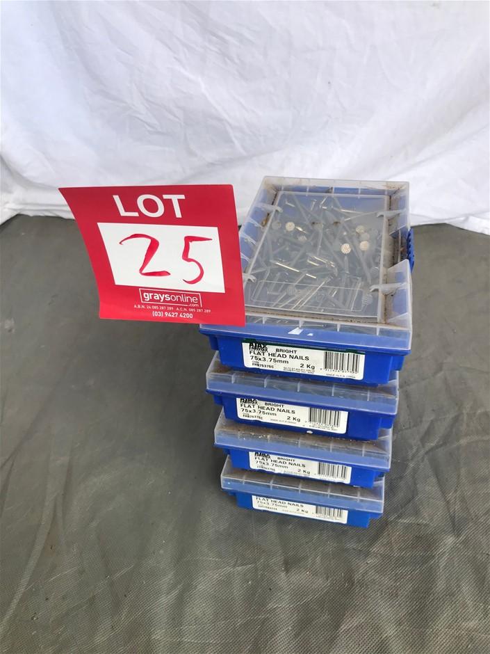 4 x Flat Head Nails (2Kg. 75 x 3.75mm)