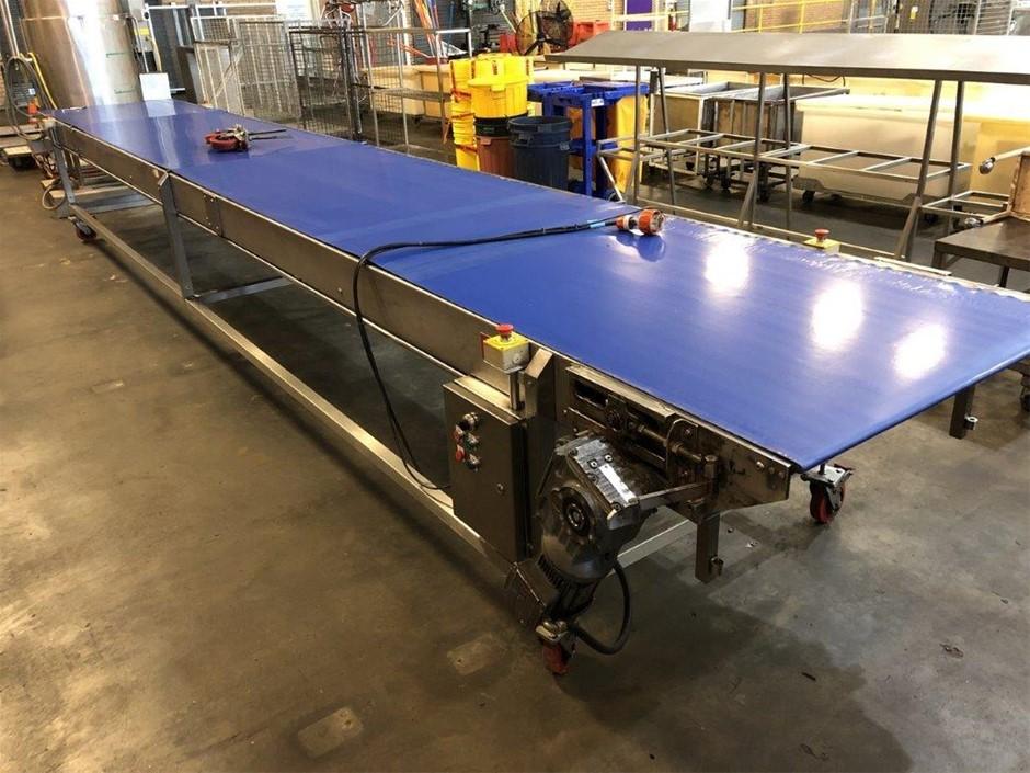 Mobile Stainless Steel Blue Belt Conveyor