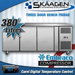 Unused 380L 3 Door Bench Freezer - EBF03
