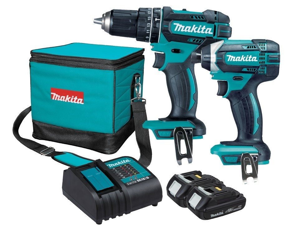 MAKITA 2pc 18V Combo Kit c/w Hammer and Driver Drill. 2 x Batteries & Charg