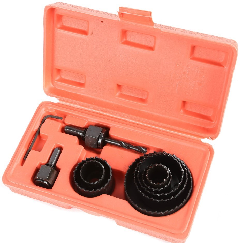 GRIP 11pc Hole Saw Kit, Comprising; 7 x Steel Cups, Sizes 7-8, 1, 1-1/4,1.5