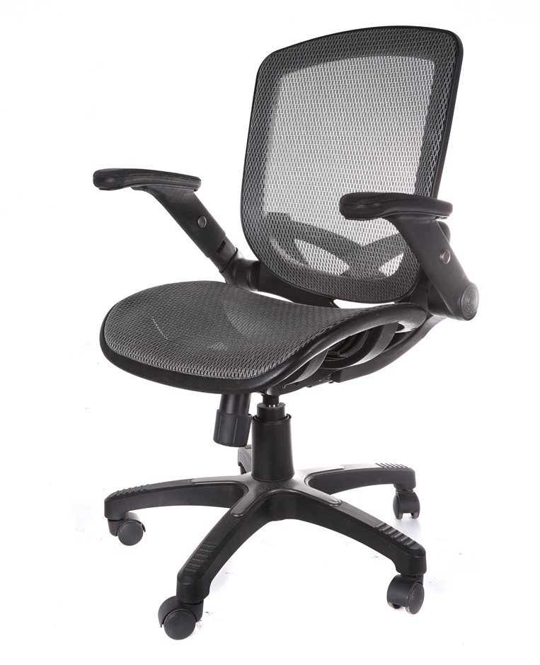Mobile Office Armchair Mesh Seat & Back Light-Up Arms, Heavy Duty Frame & B
