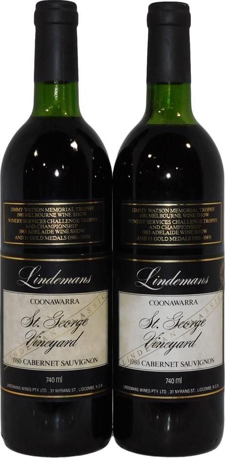 Lindemans St George Coonawarra Cabernet Sauvignon 1980 (2 x 740mL), SA