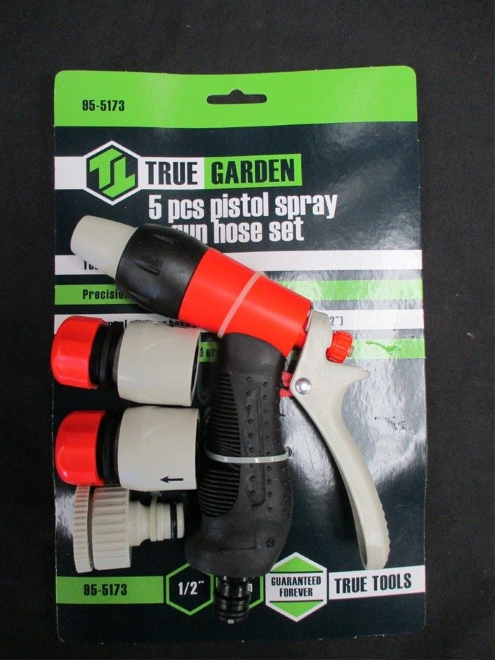 Qty 12 x True Garden 5pc Pistol Spray Gun Hose Sets
