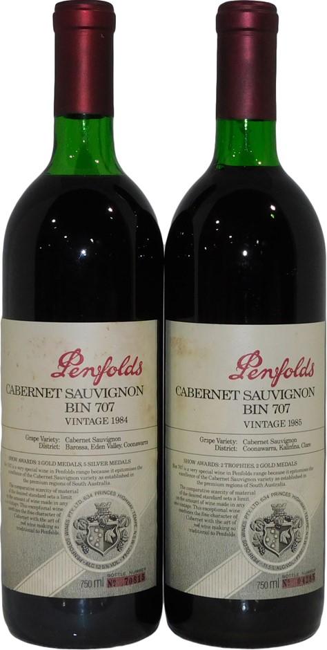 Penfolds Bin 707 Cabernet Sauvignon Vertical 1984/1985 (2x 750mL), SA, Cork