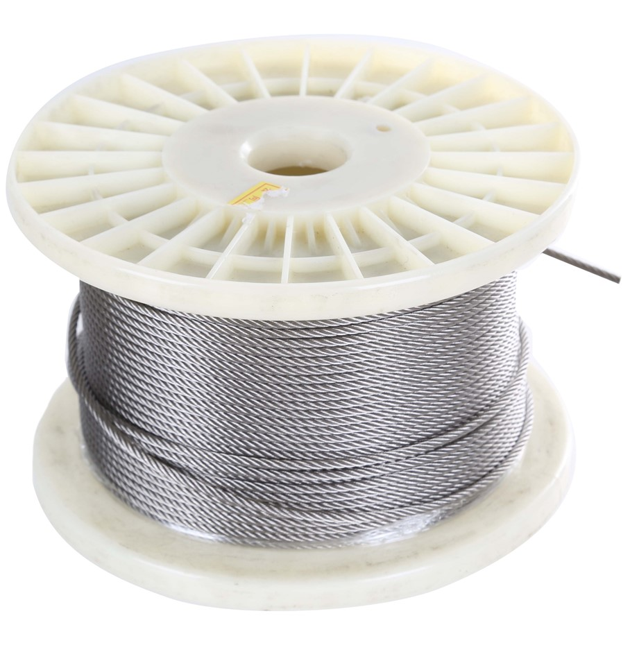 100M Reel x Stainless Steel Wire Rope 2.5mm Dia, Construction 7x19, Grade 3