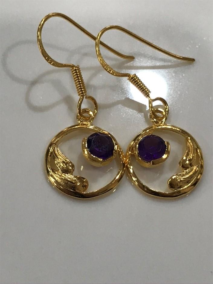 Stunning Genuine 1.20ct Amethyst & 18K Gold Vermeil Drop Earrings