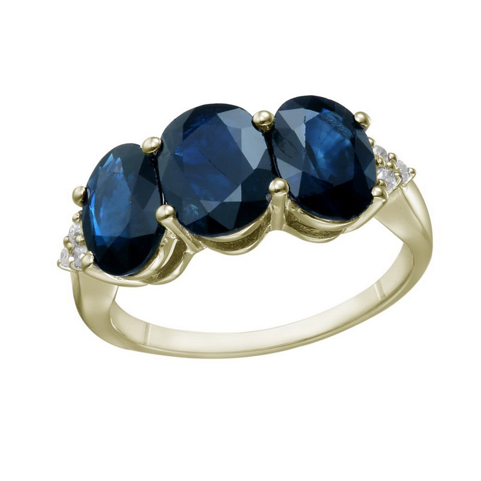 9ct Yellow Gold, 5.00ct Blue Sapphire and Diamond Ring
