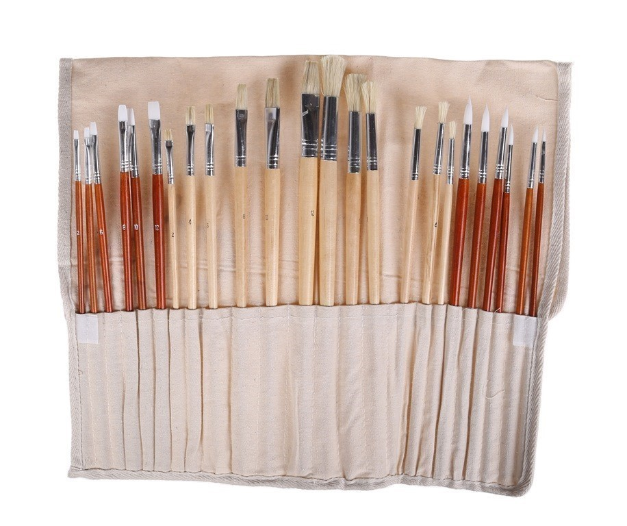 Professional 24pc Artist Brush Set with Cotton Wrap, Acrylic & Oil Painting