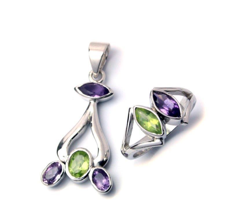 Gorgeous sterling silver amethyst & peridot gemstone pendant & ring set