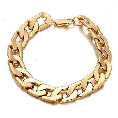 Mens 14mm wide gold plated cuban bracelet