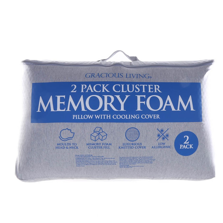 GRACIOUS LIVING 2pk Cluster Memory Foam Pillows. Buyers Note - Discount Fre