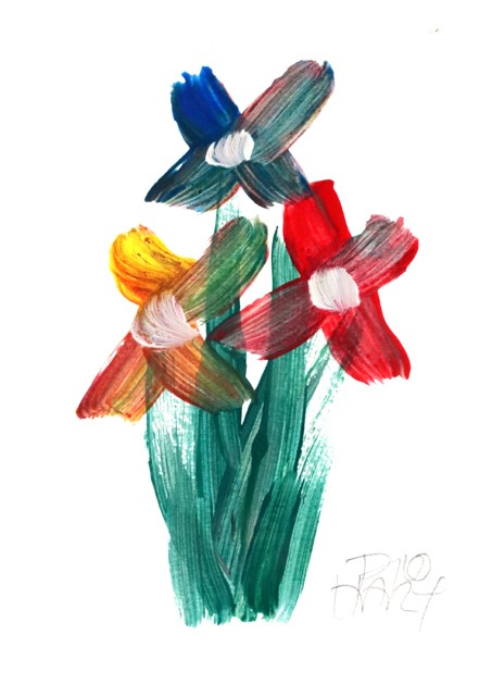 PRO HART (b.1928-2006) LARGE ORIGINAL Gorgeous 'Floral' image