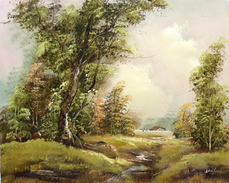 JONBON (b.) OIL Painting on Canvas, Stunning Atmospheric Landscape
