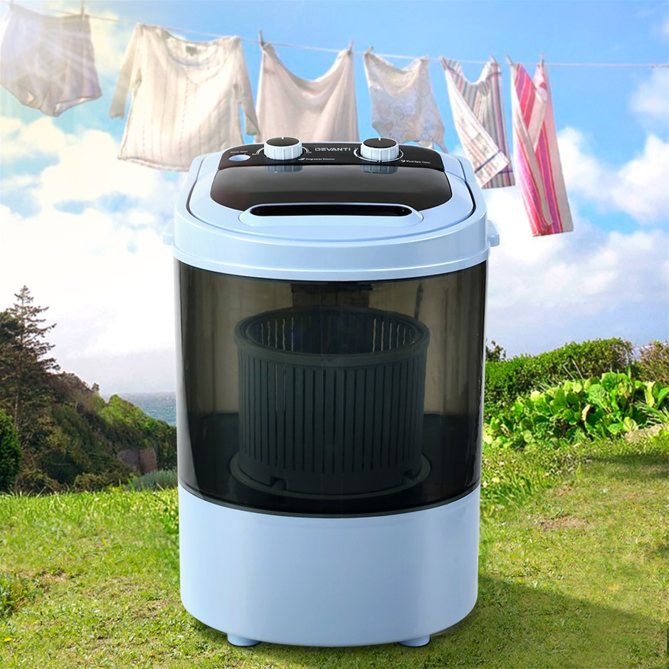 Devanti 3KG Mini Portable Washing Machine Shoes Wash Top Load Spin