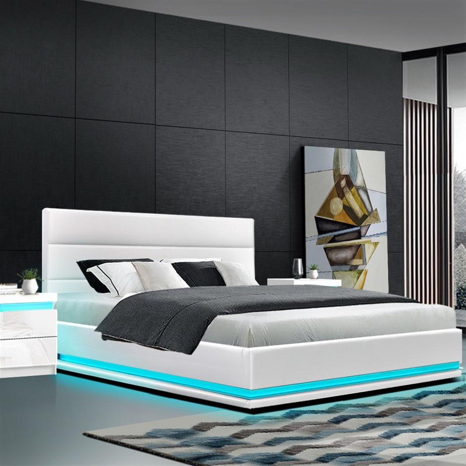 Artiss RGB LED Bed Frame Double Gas Lift Base Storage White Leather LUMI